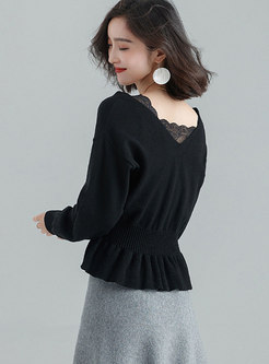 Casual Daily V-neck All-matched Sweater With Ruffled Hem