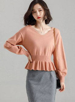 V-neck All-matched Cropped Sweater