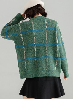 Green Easy-matching Knitted Buttoned Sweater