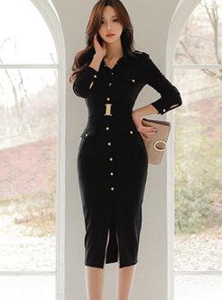 Trendy Black Belted Single-breasted Split Sheath Dress