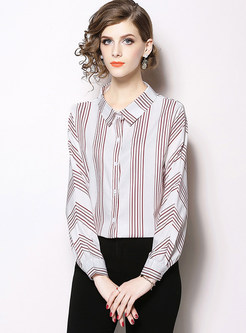 Turn Down Collar Single-breasted Striped Blouse