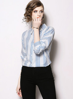 Trendy Lapel Tied Long Sleeve Striped Blouse