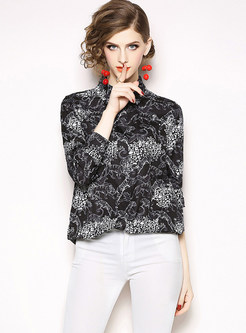 Fashion Tiger Print Lapel Single-breasted Blouse