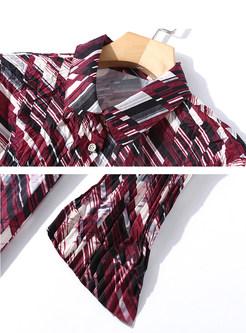 Geometric Print Long Sleeve Pleated Slim Blouse