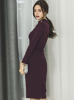 Wine Red Half Turtle Neck High Waist Beaded Midi Dress
