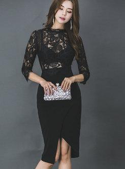 Fashion Black Sexy Lace Stitching Semi-sheer Dress