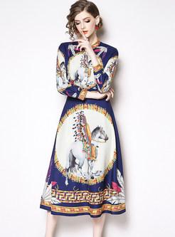 Court Standing Collar Long Sleeve Floral Waist Dress