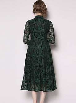 Fashion Single-breasted Waist Hollow Out Lace Dress