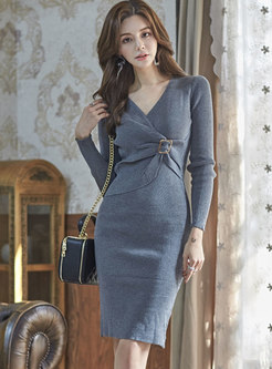 Fashion Grey V-neck Tied Asymmetric Knitted Dress