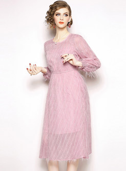 Fashion Lantern Sleeve Solid Color Waist Pleated Dress