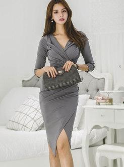 Deep Grey V-neck Asymmetric Bodycon Dress