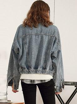 Chic Denim Lapel Single-breasted Asymmetric Short Coat