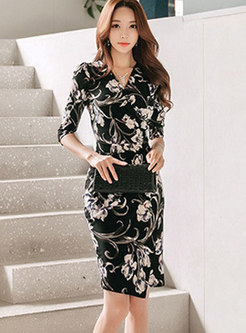 Fashion V-neck Multicolor Print Wrap Bodycon Dress
