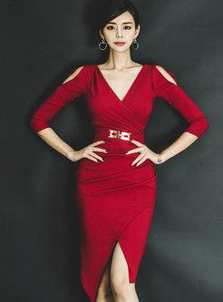 Sexy Red V-neck Off Shoulder Irregular Sheath Dress
