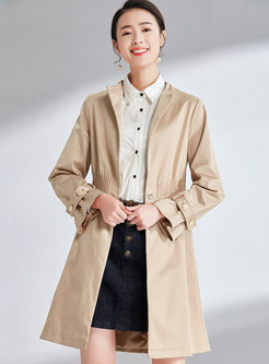 Khaki Flare Sleeve Gathered Waist Slim Trench Coat