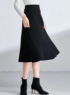 Brief Black High Waist Knitted A Line Skirt