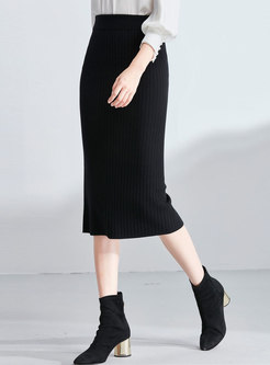 Brief Black High Waist Slit Knitted Bodycon Skirt