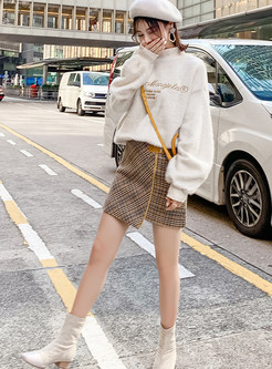 High Neck Letter Print Top & Mini Asymmetric Plaid Skirt