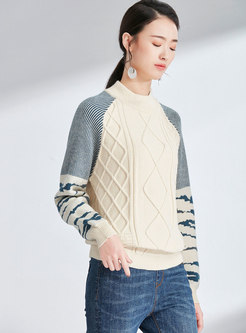 Casual Striped Splicing Stand Collar Knitted Sweater