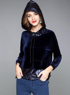 Velvet Splicing Color-blocked Hooded Sweatshirt