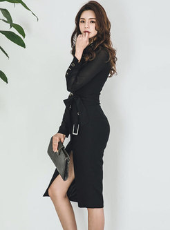 Fashion Black Stitching Single-breasted Skinny Dress