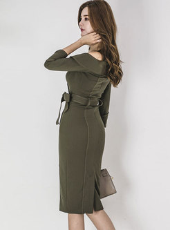 Winter Army Green Off Shoulder Tie-waist Wrap Bodycon Dress