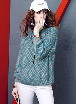 Color-blocked Bat Sleeve Loose Sweater