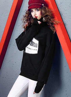 Trendy Loose Letter Print Pullover Sweatshirt