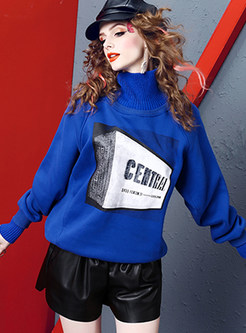 High Neck Bat Sleeve Print Long Sleeve Sweatshirt