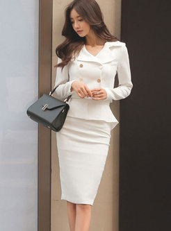 Fashion Notched Cropped Top & High Waist Ruffled Hem Skirt