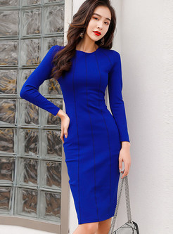 Elegant O-neck Long Sleeve Skinny Knee-length Dress
