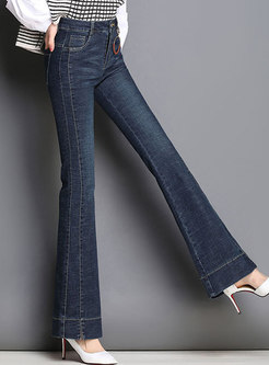 Stylish Denim High Waist Flare Pants