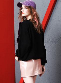 O-neck Print Falbala Bat Sleeve Patchwork Sweatshirt