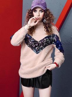 Fashion Half High Neck Sequined Sweatshirt