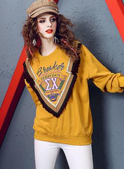 Casual Long Sleeve Print Pullover Falbala Sweatshirt