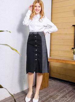 High Waist Slit Denim Splicing Single-breasted Skirt