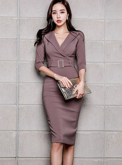 Sexy Work V-neck Three Quarters Sleeve Sheath Dress