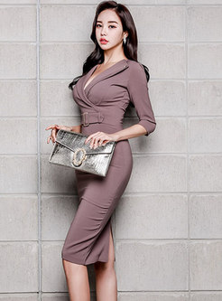 Sexy Work V-neck Three Quarters Sleeve Sheath Dress