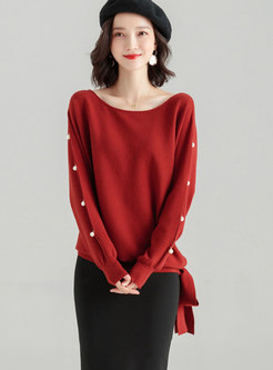 Caramel O-neck Long Sleeve Beaded Sweater