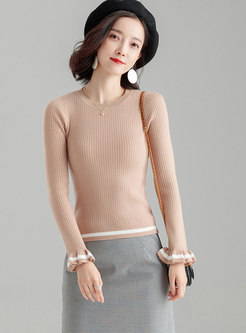 Fashion Flare Sleeve O-neck Slim Pullover Sweater