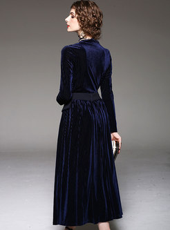 Navy Stand Collar Slim Top & High Waist Pleated Long Skirt