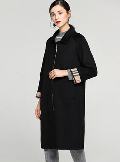 Chic Grid Splicing Lapel Single-breasted Straight Woolen Coat