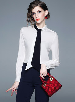 Color-blocked Tied Standing Collar Chiffon Blouse