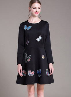 Plus Size Plush Thermal Butterfly Print Dress