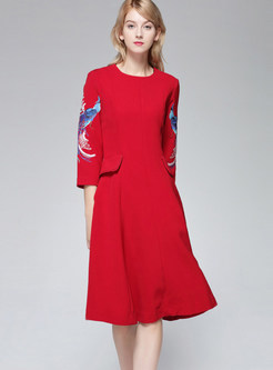 Elegant Three Quarters Sleeve Embroidered A Line Dress