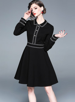 Fashion Doll Collar Waist Slim Skater Dress