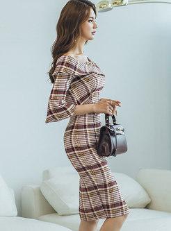 Off Shoulder Flare Sleeve Plaid Split Dress