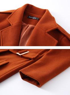 Solid Color Notched Tie-waist Plus Size Coat