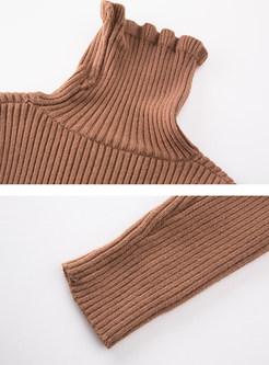 Turleneck Falbala Slim Pullover Sweater