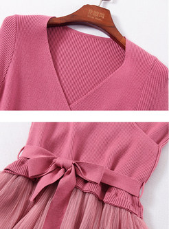 V-neck Bowknot Waist Splicing Mesh A Line Dress